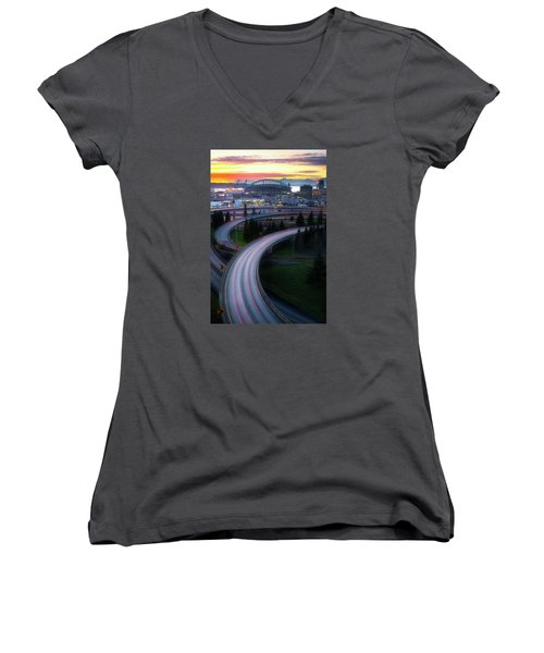Gold And Arches Women's V-Neck T-Shirt