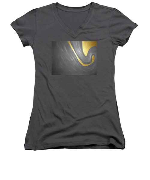 Gold And Gray Women's V-Neck T-Shirt (Junior Cut) by Barbara Yearty