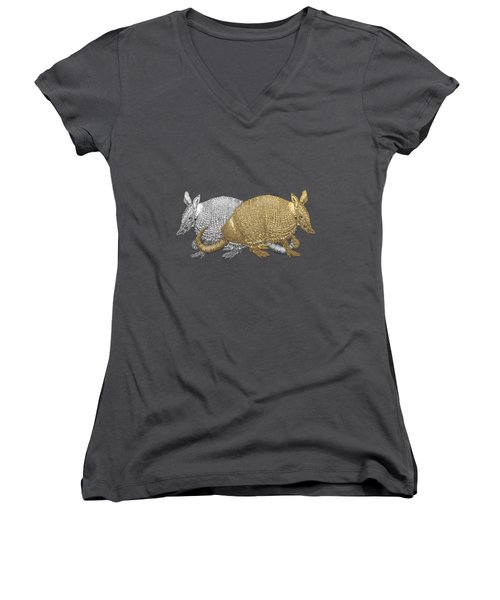 Women's V-Neck T-Shirt (Junior Cut) featuring the digital art Gold And Silver Armadillo On Red Canvas by Serge Averbukh