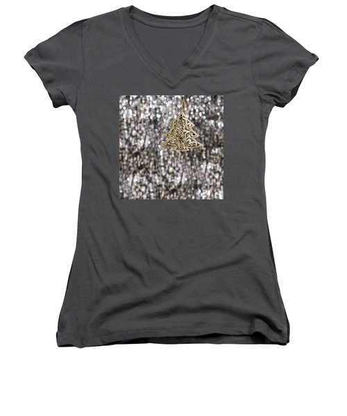 Women's V-Neck T-Shirt (Junior Cut) featuring the photograph Gold Christmas Tree by Ulrich Schade