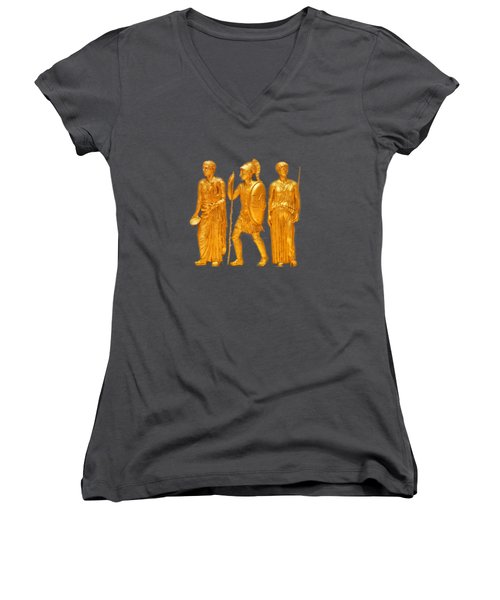 Women's V-Neck T-Shirt (Junior Cut) featuring the photograph Gold Covered Greek Figures by Linda Phelps
