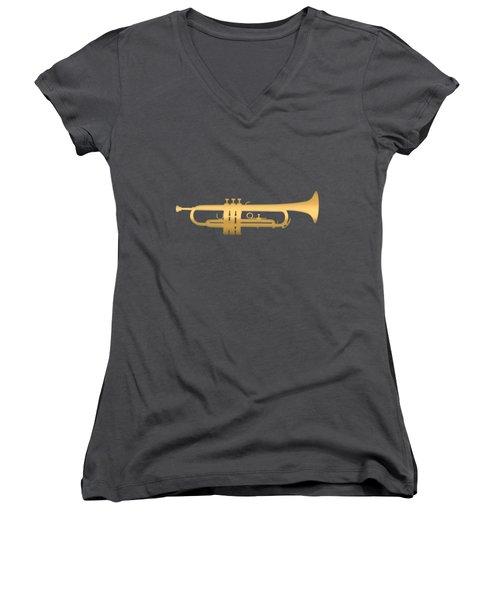 Gold Embossed Trumpet On Dark Midnight Blue Background Women's V-Neck (Athletic Fit)