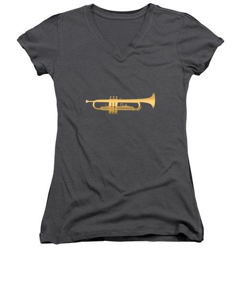 Gold Embossed Trumpet On Dark Red Background Women's V-Neck (Athletic Fit)