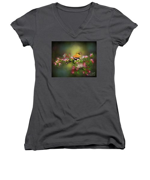 Gold Finch And Blossoms Women's V-Neck (Athletic Fit)