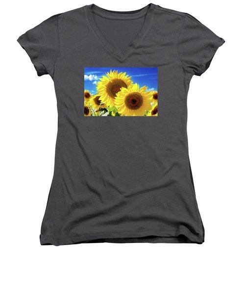 Gold Women's V-Neck T-Shirt (Junior Cut) by Greg Fortier