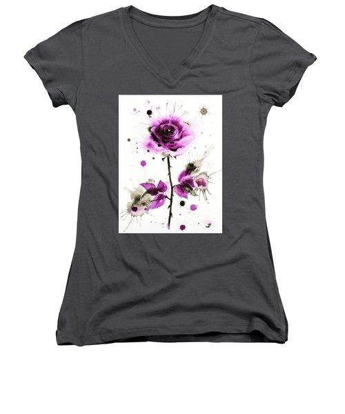 Gold Heart Of The Rose Women's V-Neck T-Shirt