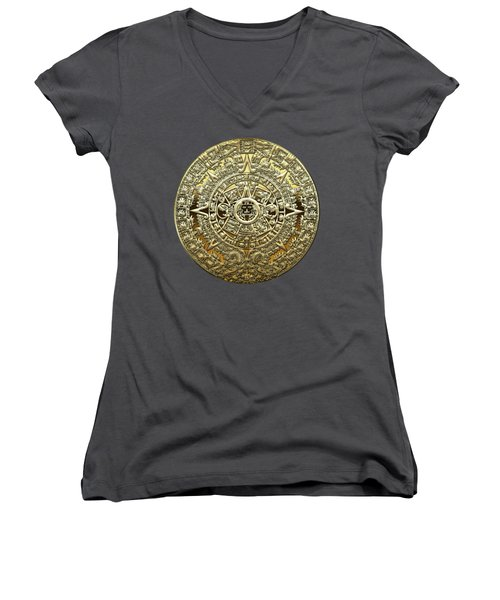 Gold Mayan-aztec Calendar On Brown Leather Women's V-Neck (Athletic Fit)