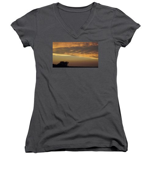 Gold Sky Over Lake Of The Ozarks Women's V-Neck T-Shirt (Junior Cut) by Don Koester