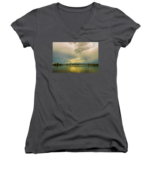 Women's V-Neck T-Shirt featuring the photograph Golden Afternoon by James BO Insogna