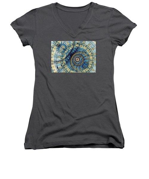 Golden And Blue Clockwork Women's V-Neck T-Shirt