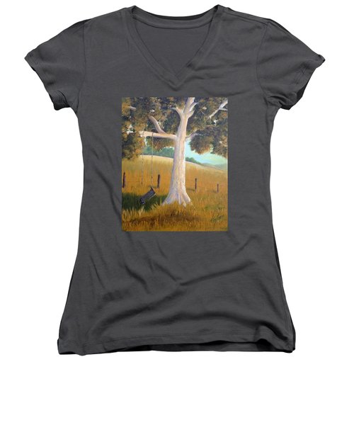 The Shadows Of Childhood Women's V-Neck T-Shirt (Junior Cut) by T Fry-Green