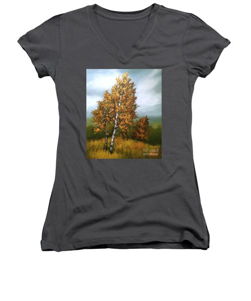 Women's V-Neck T-Shirt (Junior Cut) featuring the painting Golden Birch by Inese Poga
