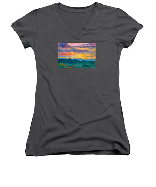 Women's V-Neck T-Shirt (Junior Cut) featuring the painting Golden Blue Ridge Sunset by Kendall Kessler
