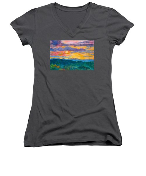 Golden Blue Ridge Sunset Women's V-Neck