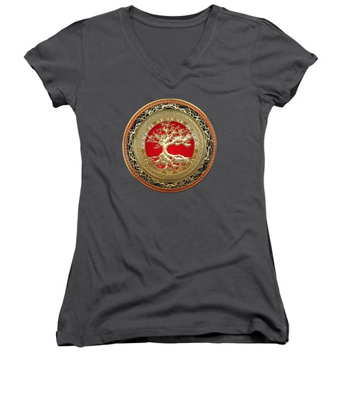 Golden Celtic Tree Of Life  Women's V-Neck T-Shirt (Junior Cut) by Serge Averbukh