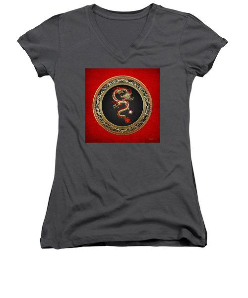 Golden Chinese Dragon Fucanglong On Red Leather  Women's V-Neck T-Shirt