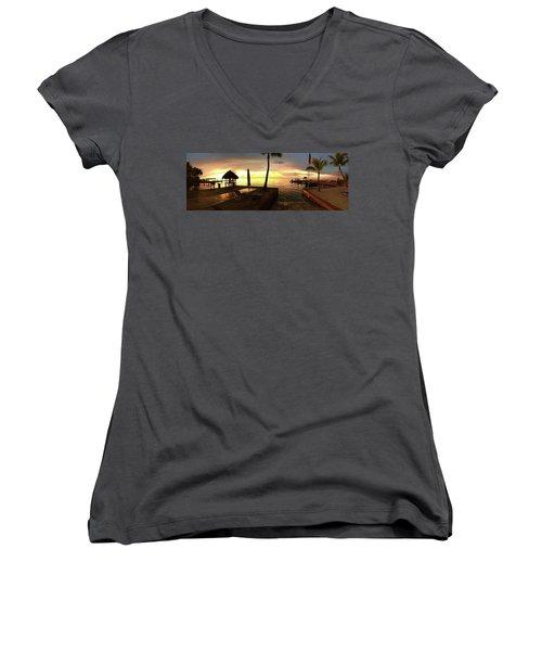 Golden Dream Women's V-Neck T-Shirt (Junior Cut) by Steven Lebron Langston