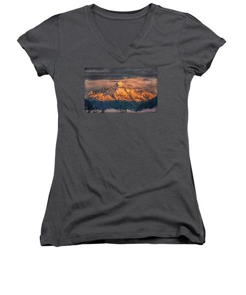 Golden Evening Sun Women's V-Neck T-Shirt (Junior Cut) by Hanny Heim