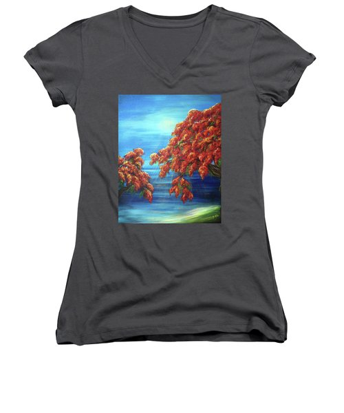 Golden Flame Tree Women's V-Neck