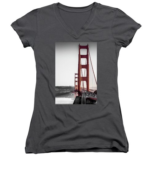 Golden Gate Black And Red Women's V-Neck