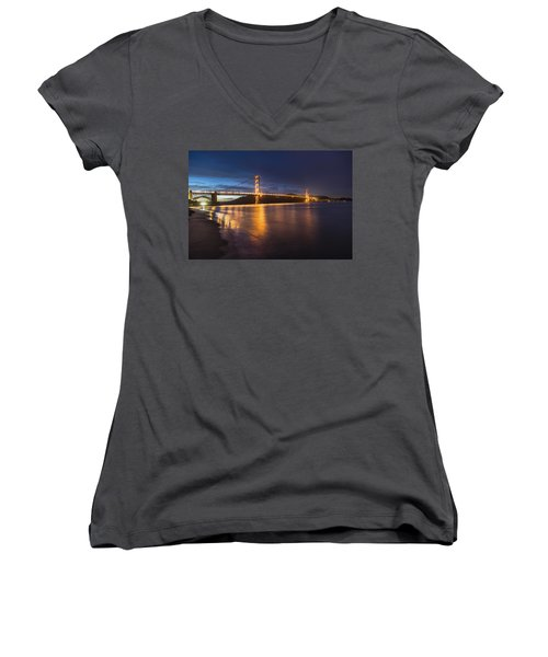 Golden Gate Blue Hour Women's V-Neck T-Shirt (Junior Cut)