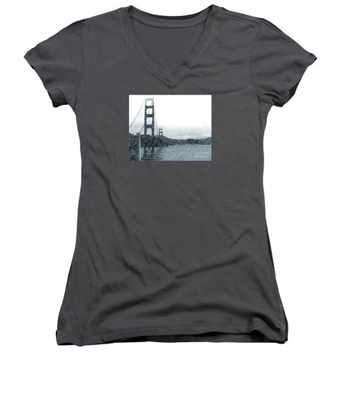 Golden Gate Blue Rain Women's V-Neck T-Shirt (Junior Cut) by Cheryl Del Toro