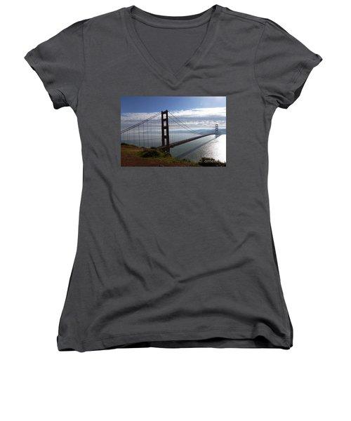 Women's V-Neck T-Shirt (Junior Cut) featuring the photograph Golden Gate Bridge-2 by Steven Spak