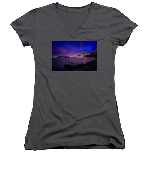 Golden Gate Bridge At Night Women's V-Neck T-Shirt