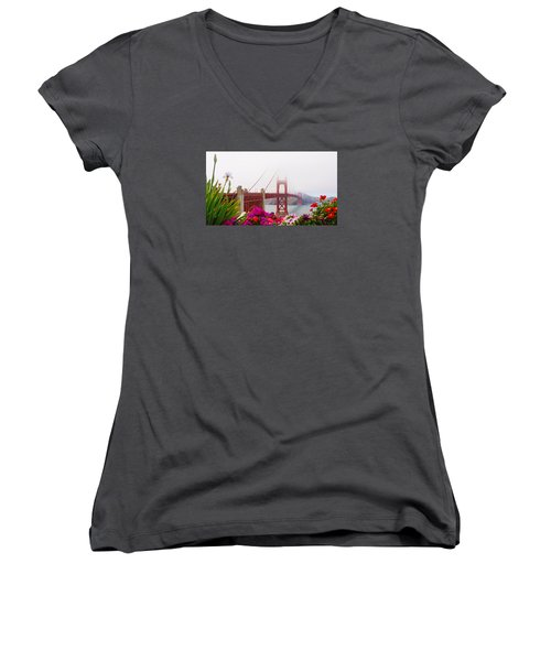 Golden Gate Bridge Flowers 2 Women's V-Neck (Athletic Fit)