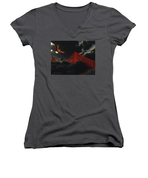 Golden Gate Bridge In Heavy Fog Clouds With Eagle Women's V-Neck T-Shirt (Junior Cut) by Bruce Rolff