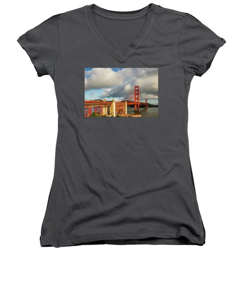 Women's V-Neck T-Shirt (Junior Cut) featuring the photograph Golden Gate From Above Ft. Point by Bill Gallagher