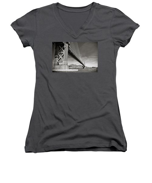 Golden Gate From The Water - Bw Women's V-Neck T-Shirt (Junior Cut) by Darcy Michaelchuk