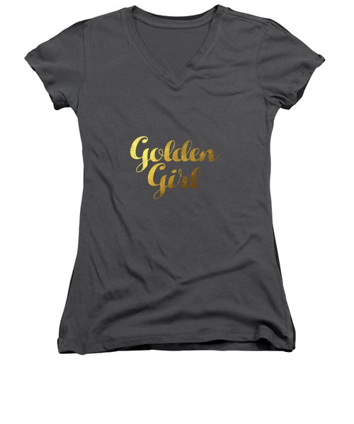 Golden Girl Typography Women's V-Neck T-Shirt (Junior Cut) by BONB Creative
