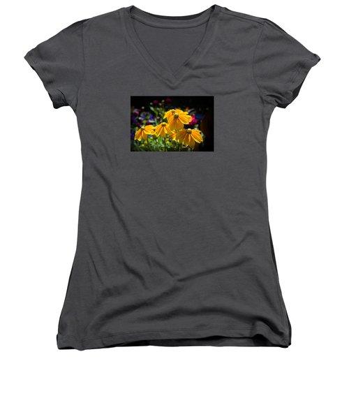 Golden Glow Women's V-Neck T-Shirt (Junior Cut) by Milena Ilieva