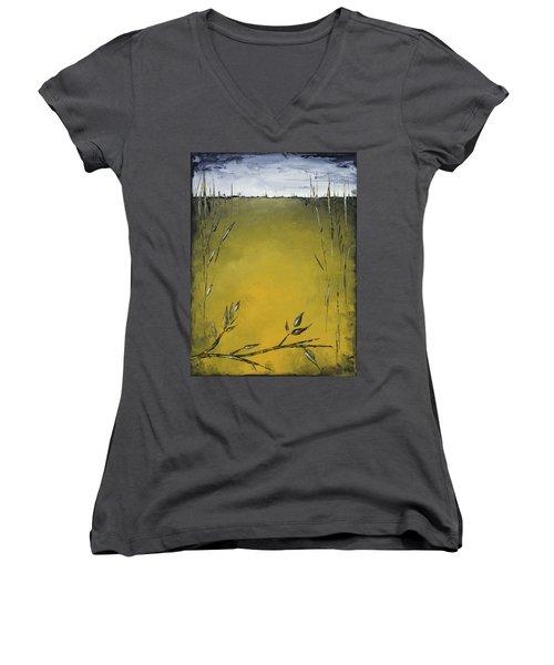 Golden Greens Women's V-Neck T-Shirt (Junior Cut) by Carolyn Doe