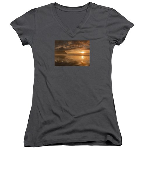 Golden Hour Women's V-Neck T-Shirt (Junior Cut) by John Gilbert