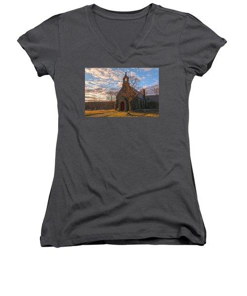 Golden Hour Prayer Service Women's V-Neck T-Shirt (Junior Cut) by Angelo Marcialis