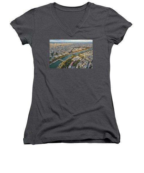 Golden Light Along The Seine Women's V-Neck T-Shirt (Junior Cut) by Mike Reid
