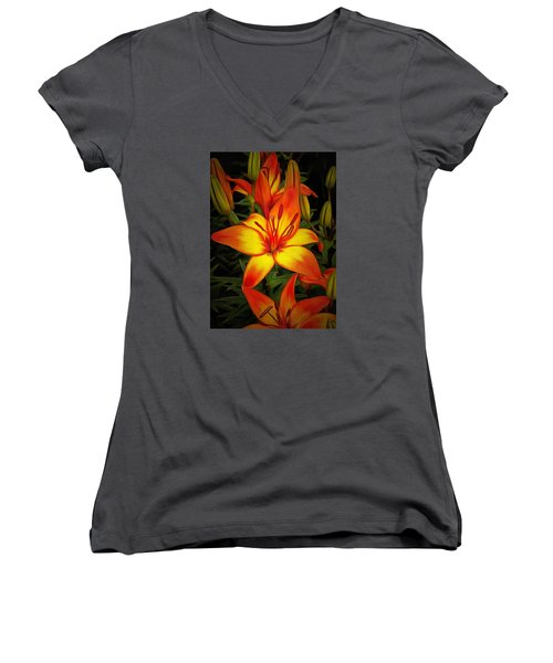 Golden Lilies Women's V-Neck (Athletic Fit)