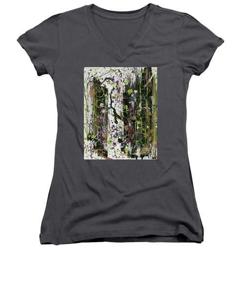 Golden Lime Royal Purple Dreams Women's V-Neck T-Shirt (Junior Cut) by Talisa Hartley