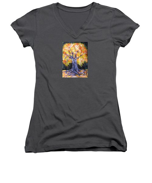 Women's V-Neck T-Shirt (Junior Cut) featuring the drawing Golden Oak by Anna  Duyunova