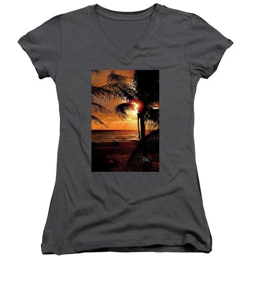 Golden Palm Sunrise Women's V-Neck T-Shirt (Junior Cut) by Meta Gatschenberger