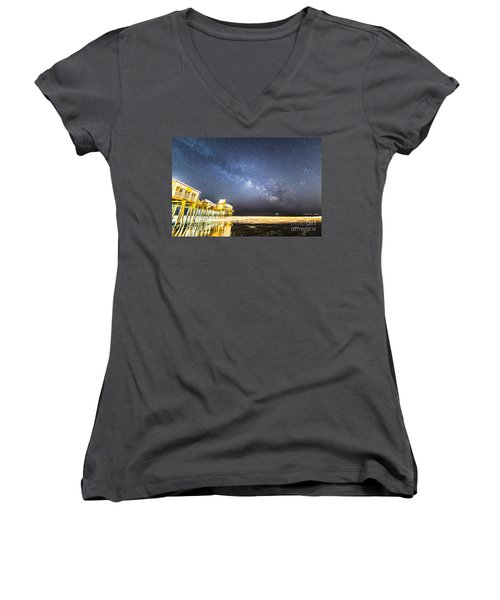 Golden Pier Under The Milky Way Version 1.0 Women's V-Neck T-Shirt