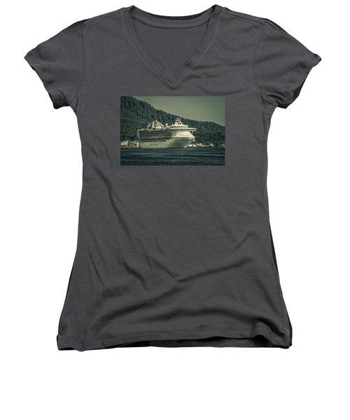 Women's V-Neck T-Shirt (Junior Cut) featuring the photograph Golden Princess  by Timothy Latta