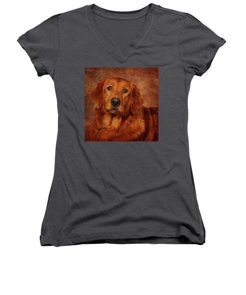 Women's V-Neck T-Shirt (Junior Cut) featuring the photograph Golden Retriever by Greg Mimbs