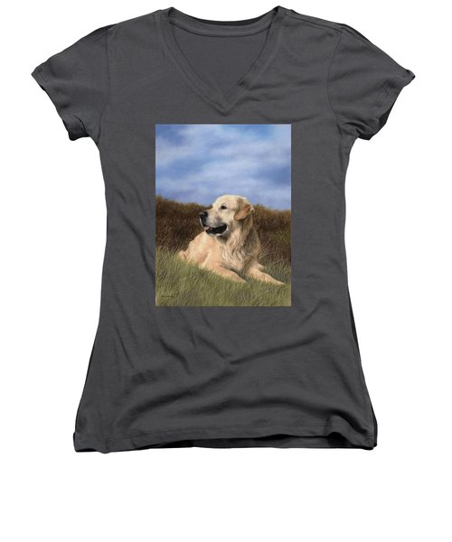 Golden Retriever Painting Women's V-Neck T-Shirt (Junior Cut) by Rachel Stribbling