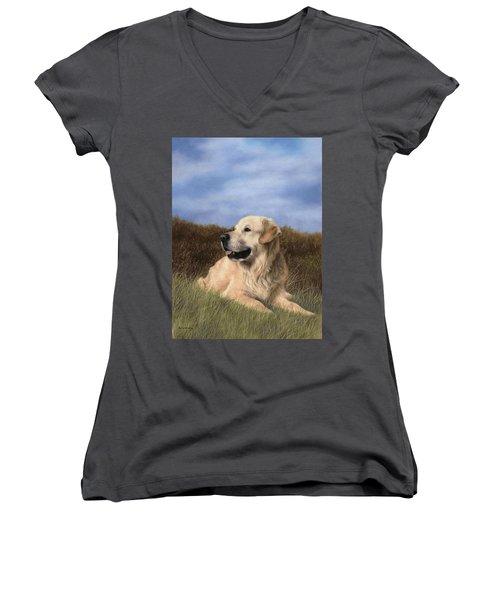Golden Retriever Painting Women's V-Neck T-Shirt