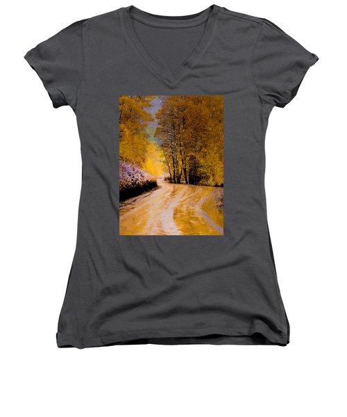 Golden Road Women's V-Neck T-Shirt (Junior Cut) by Kristal Kraft