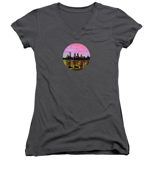 Golden Skyline Perth Women's V-Neck T-Shirt (Junior Cut) by Alan Hogan