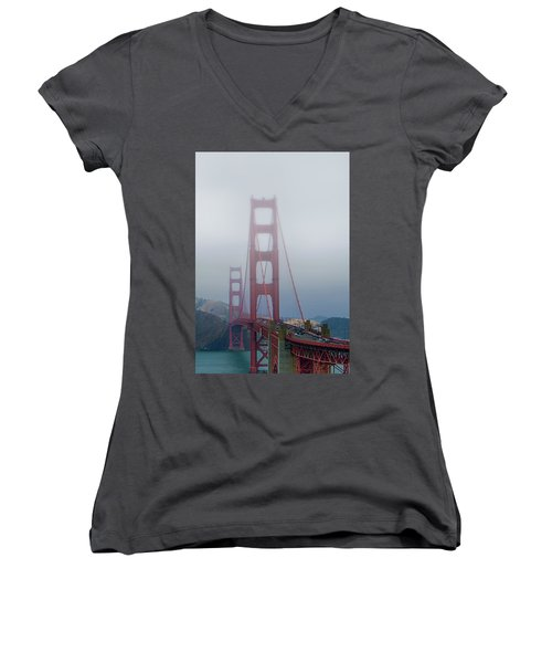 Women's V-Neck T-Shirt (Junior Cut) featuring the photograph Golden State Golden Gate  by Joseph Hollingsworth